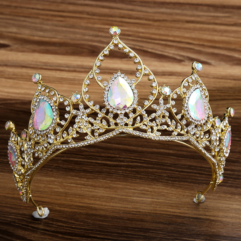 KMVEXO 2019 New Arrival Wedding Crystal AB Tiara For Brides Gold Headpiece Bridal Hair Accessories Rhinestone Crown Queen Diadem
