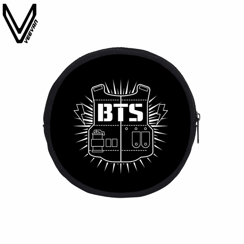 VEEVANV BTS Round Coin Purses BTS Accessories Bag Forever On Stage Canvas Wallet For Women BTS Fast And Convenient Zero Wallet