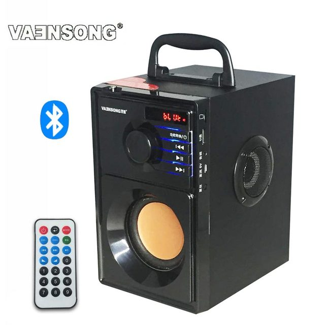 vaensong stereo holz subwoofer bluetooth lautsprecher fm radio tragbare lautsprecher mp3 spielen. Black Bedroom Furniture Sets. Home Design Ideas