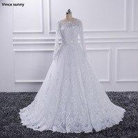 Vinca Sunny Luxury Long Sleeve Wedding Dresses 2018 With Lace Beads A Line Custom Size
