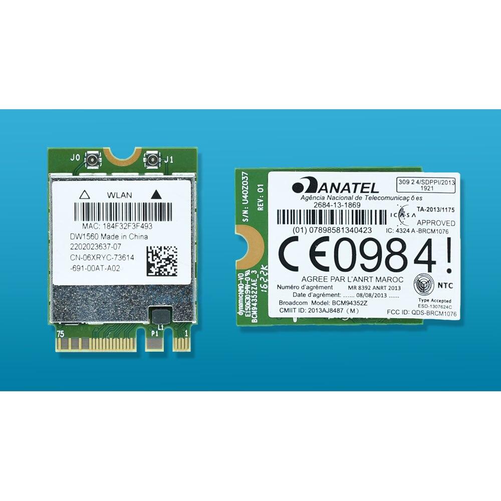 BCM94352Z DW1560 06 XRYC 802.11ac NGFF M2 867 Mbps BCM94352 BT4.0 Carte Réseau Sans Fil WiFi