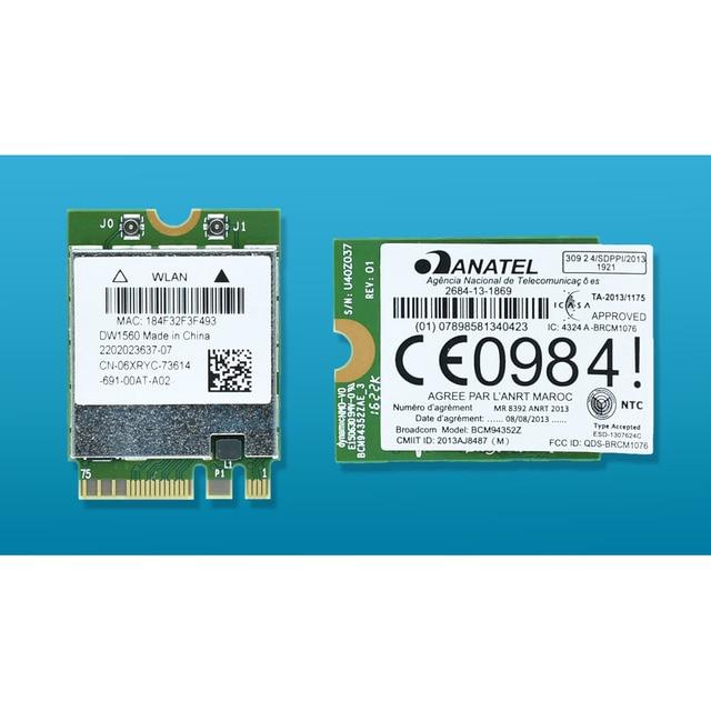 BCM94352Z DW1560 06 Xryc 802.11ac Ngff M2 867Mbps BCM94352 BT4.0 Wifi Scheda di Rete Wireless