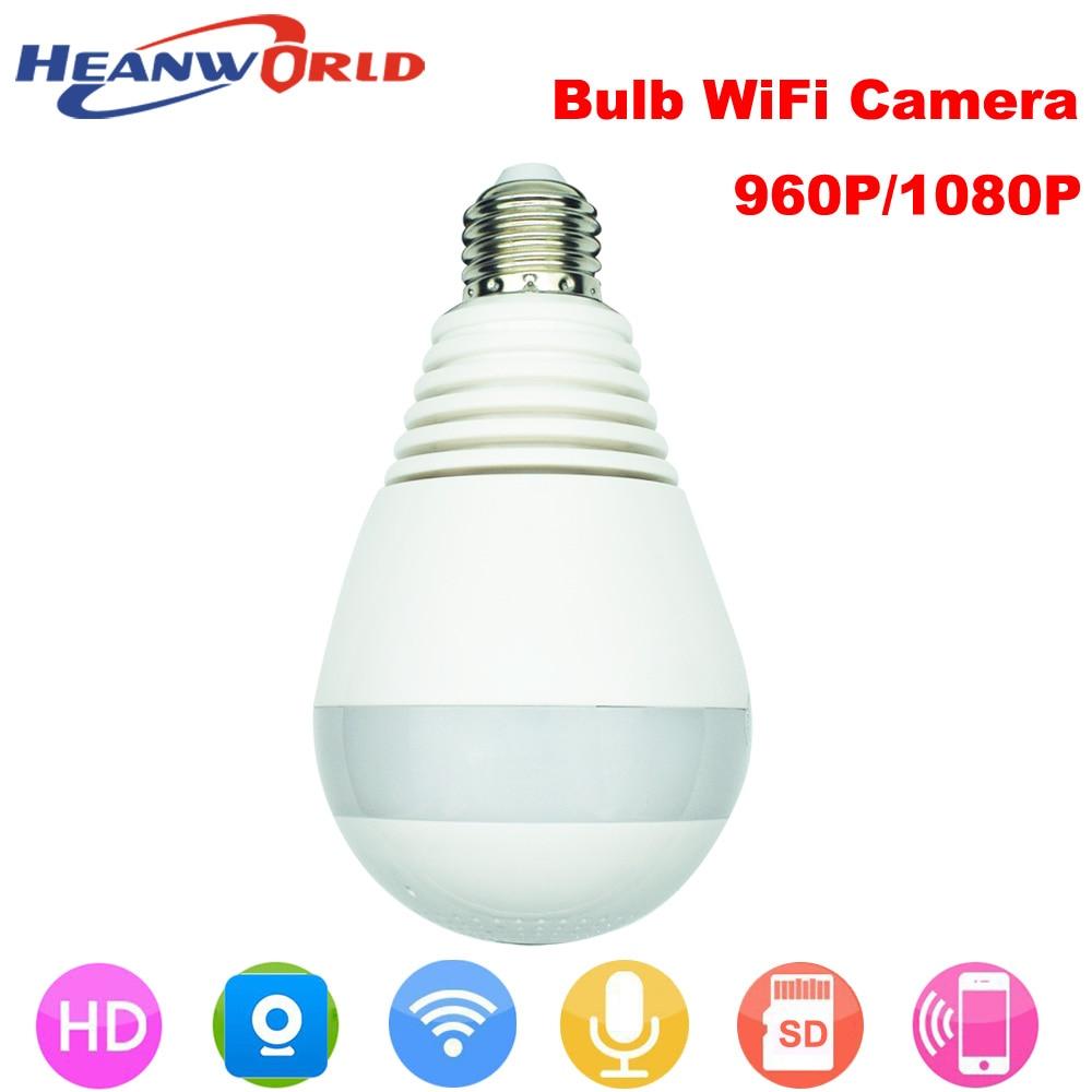 Heanworld bulb 360 degree full HD 960P/1080P smart camera two way audio fisheye lens WiFi camera used by V380 app ip camera