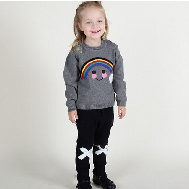 Kids  pullover knitted sweater  summer  boys  girls rainbow smiley o-neck sweater Children's Clothing 1-5years old tops