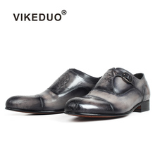 VIKEDUO Italy Style Handmade Genuine Leather Men Gray Monk Strap Formal Shoes Office Business Wedding Dress Patina Laser Shoes vikeduo 2018 men s genuine leather dress shoes vintage classic monk strap shoe male plus size handmade wedding sapato masculino