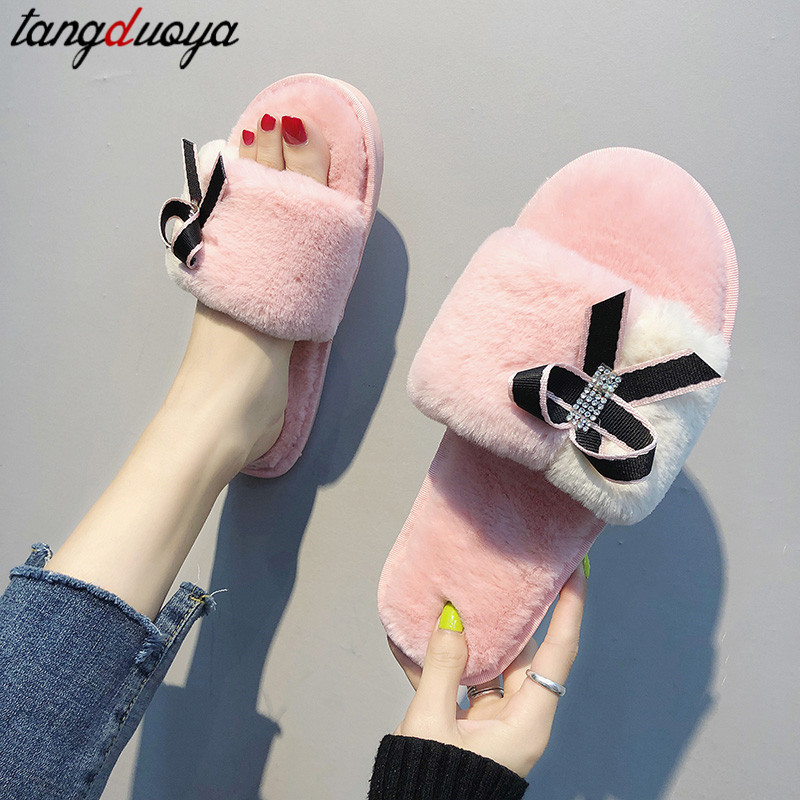 women slippers short plush indoor home slippers women flat flip flops women home shoes butterfly slippers zapatos de mujer