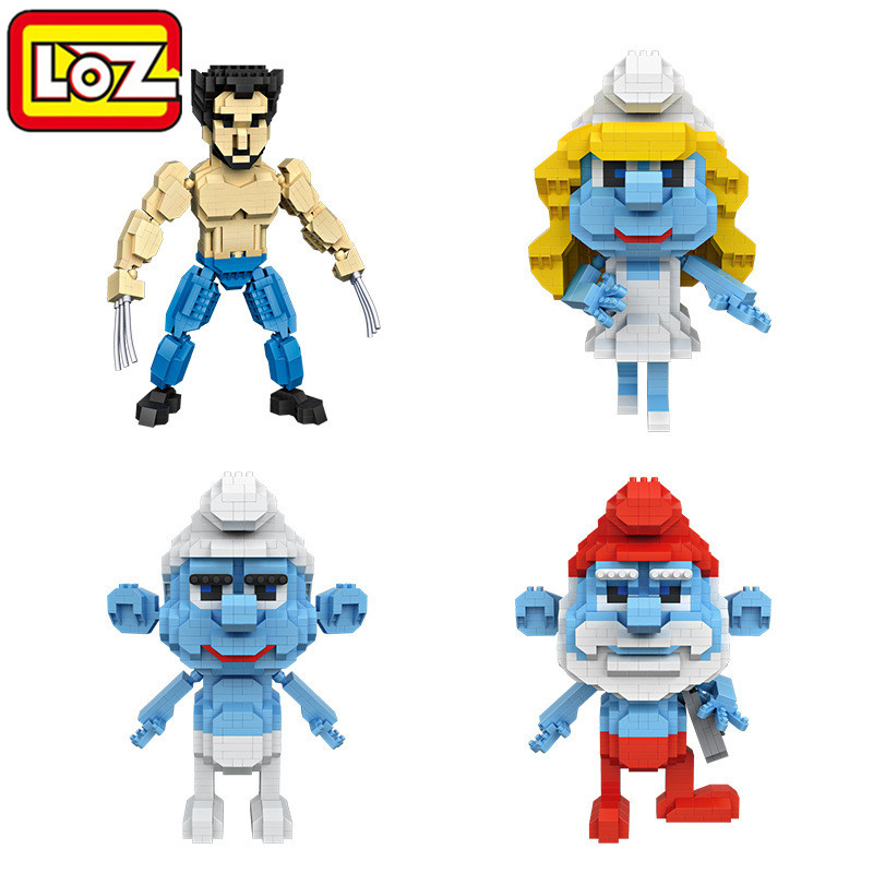LOZ Qute kawaii Anime Blocks Wolverine Super Man Xmen Wolverine Logan Cartoon Toys Actio ...
