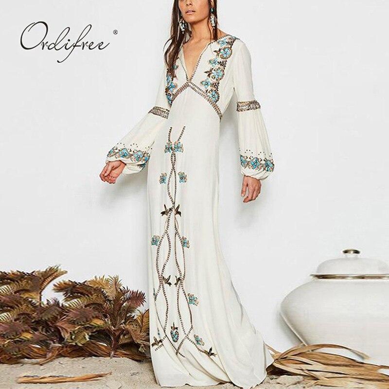 Ordifree 2019 été Boho femmes broderie longue robe Floral brodé blanc Maxi robe de plage