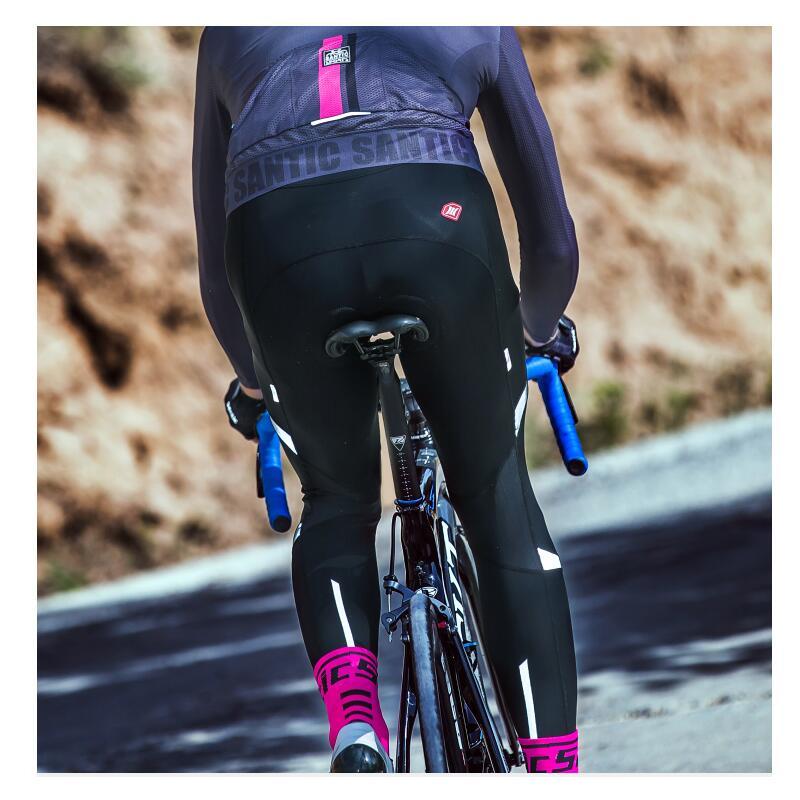 Santic Men Cycling Padded Long Pants 4D Pad 2018 Spring Autumn Breathable Bike Riding Cycling Pants Full Length Black
