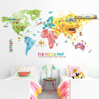 Cartoon The Word Map Wall Stickers Home Decor Living Room DIY Removable Home Decor Baby Room Mural Art