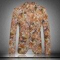 Nueva llegada del verano del Resorte delgado ocasional de los hombres traje chaqueta de impresión Delgado marea traje de flores de moda de calidad de hihg tamaño Ml XL XXL3XL