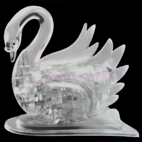 M89C3D Crystal Puzzle Jigsaw Model DIY Swan IQ Toy Gift Souptoy Furnish Gadget