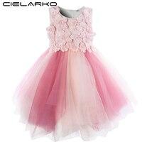 Cielarko Infant Flower Girls Dress Ceremony Pink Baby Party Dresses Tulle Christening Toddler Ball Gown 2018 New Summer Frocks