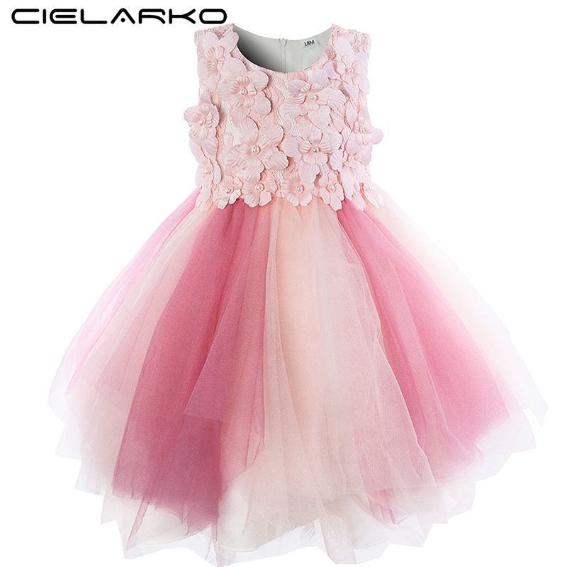 Cielarko Infant Flower Girls Dress Ceremony Pink Baby Party Dresses Tulle Christening Toddler Ball Gown 2018 New Summer Frocks