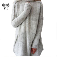 2017 Winter Autumn Women Sweater Pullovers Knitted Long Cashmere Turtleneck Fashion Thicken Warm Loose Female Tops