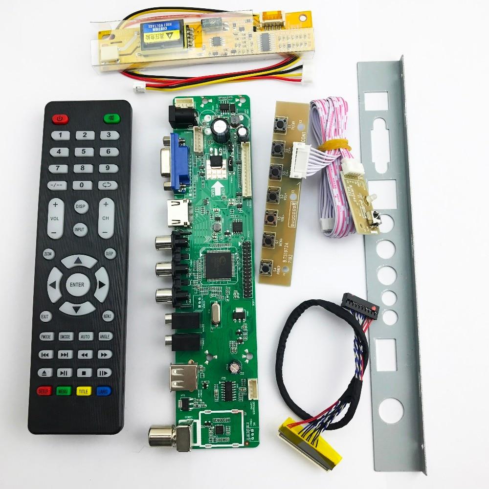 v56 Universal LCD TV Controller Driver Board PC/VGA/HDMI/USB Interface 1 lamp inverter +30pin 1ch 6bit lvds 561161