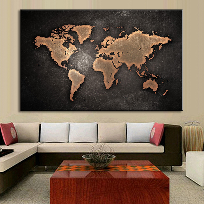 1 Pcs Set Huge Black World Map Paintings Print On Canvas Hd Abstract