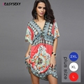 iEASYSEXY 2017 Boho Autumn Women Dress Sexy Loose Sundresses Deep V Ethnic Dashiki Print Tunic Beach Dresses Woman SunDress Robe