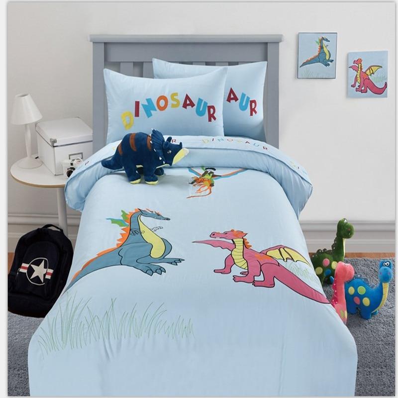 Бесплатная доставка, 100% хлопок, 3/4 шт., Комплект постельного белья для детей с рисунком динозавра, синего цвета, без наполнителя
