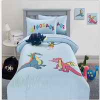Free shipping 100%cotton 3/4pcs twin full queen size children cartoon embroidered dinosaur blue bedding set without filler