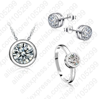 JEXXI Classic Women Engagement 925 Sterling Silver Shinny CZ Wedding Necklace Earring Ring Jewelry Sets For