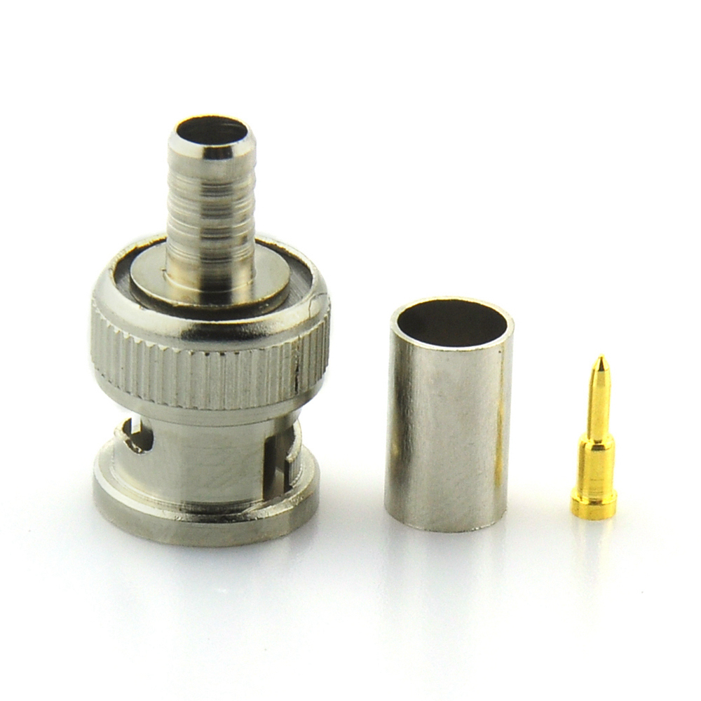 цены  BNC Male crimp Connector Plug for RG59 coaxial Cable Coupler CCTV Adaptor