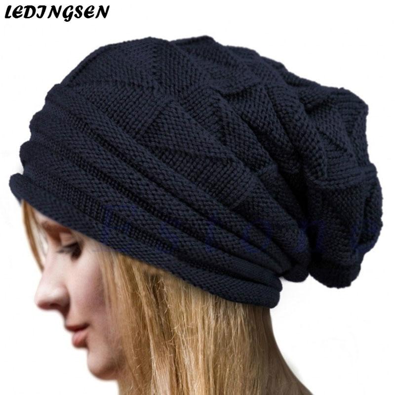 Ledingsen 2018 вязаные зимние шапки для женщин теплые черный