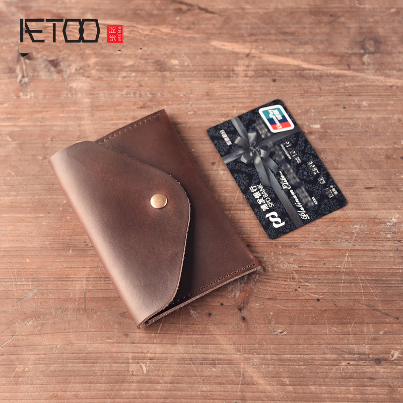 AETOO Handmade leather bag women men small wallet short paragraph wallet ultra-thin envelope retro simple mad horse pickup bag