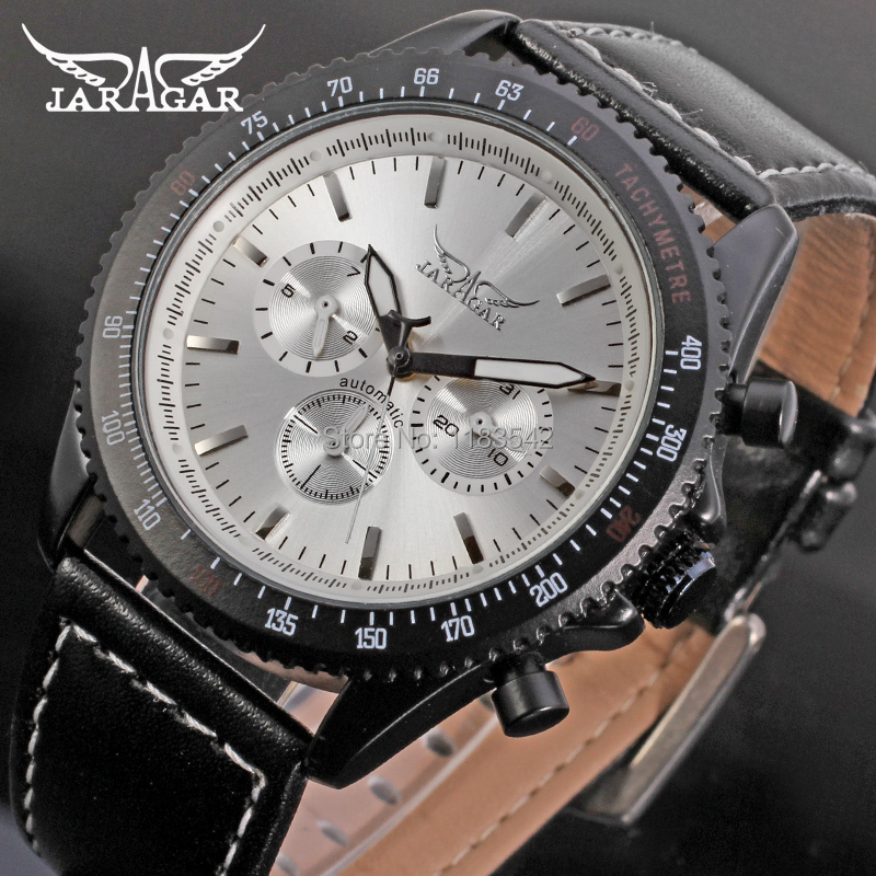 Jargar  new Automatic fashion dress wristwatch black color for men with black leather strap JAG6010M3B3 jargar jag6581m3t1 new men automatic fashion watch black wristwatch for men with black leather strap best gift free ship
