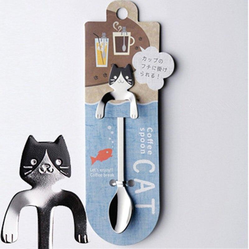 Кофейная и чайная ложка мини-кошка с длинной ручкой креативная ложка для питья пищевая кухонная посуда из нержавеющей стали - Цвет: Black Face