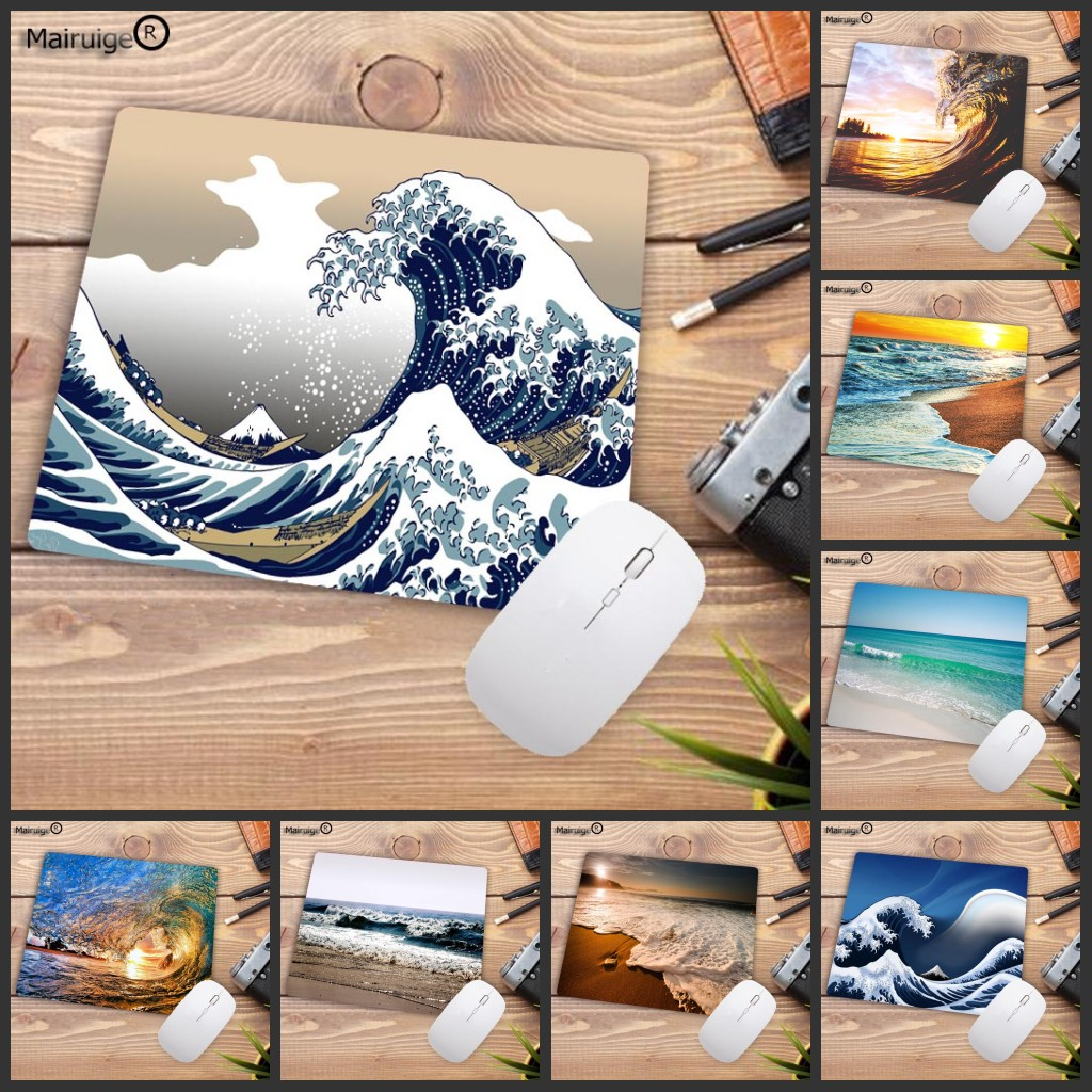Mairuige Big Promotion Beach Sea Waves Customized MousePads Computer Laptop Keyboards Mat Rubber Gaming Mousepad Desk Mat