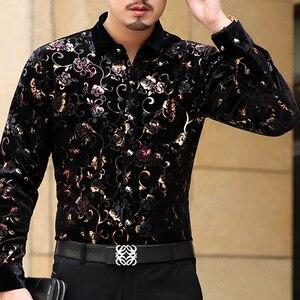 Image 4 - Mu יואן יאנג 2020 גברים אופנה פלנל חולצות רשמיות שרוול ארוך שחור חולצה מותג mens בגדי גדול גודל 3XL 50% off рубашка