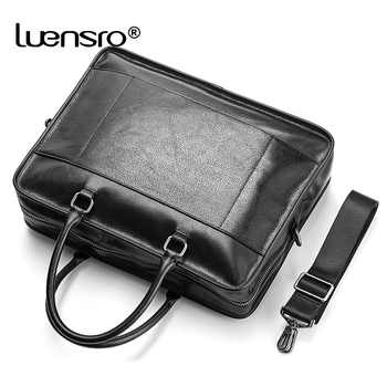 LUENSRO Real Leather Men Business Briefcase Black Large Capacity Man Handbag Totes Male Trave Bag Laptop Shoulder Bag Briefcases