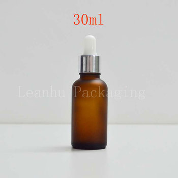 20 X 30ml frosted brown oil dropper bottle 1oz Brown Pipette Dropper Vial,1oz Glass Cosmetic Container