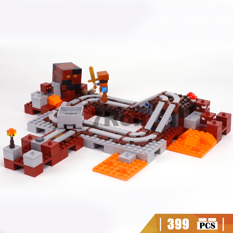 Compatible with Lego Minecrafted 21130 10620 My world The Nether Railway Block Set Creative Building Toy 399Pcs 10472 minecrafted the fortress compatible with lego 21127 block set building brick my world educational toy hobbies for children
