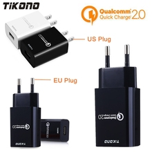 Tikono Qualcomm Quick Charge 2.0 EU/US Plug USB Travel Wall Charger Smart Fast Charger For iPhone Samsung Galaxy Xiaomi LG Sony