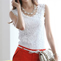 WJ 2016 Summer Women White Blouse Lace Floral Vintage Sleeveless Blusas Ladies Elegant Crochet Casual Shirts Tops Plus Size