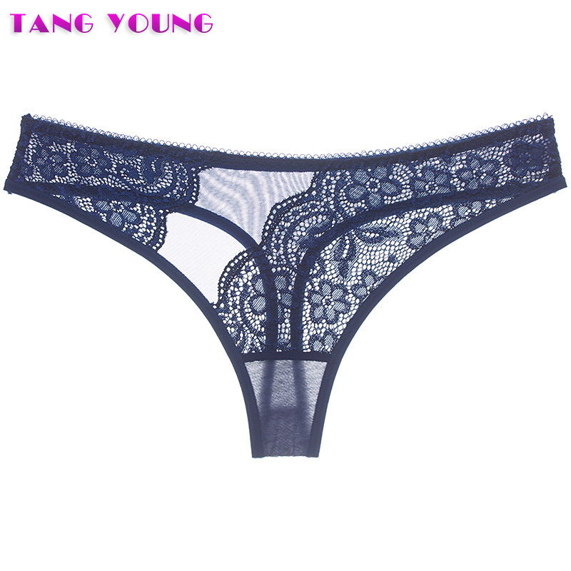 2PCS/Lot Newest Women Underwear G String Sexy Lace Briefs Panties Transparent Flower Embroidery Hollow Thongs Plus Size Panties