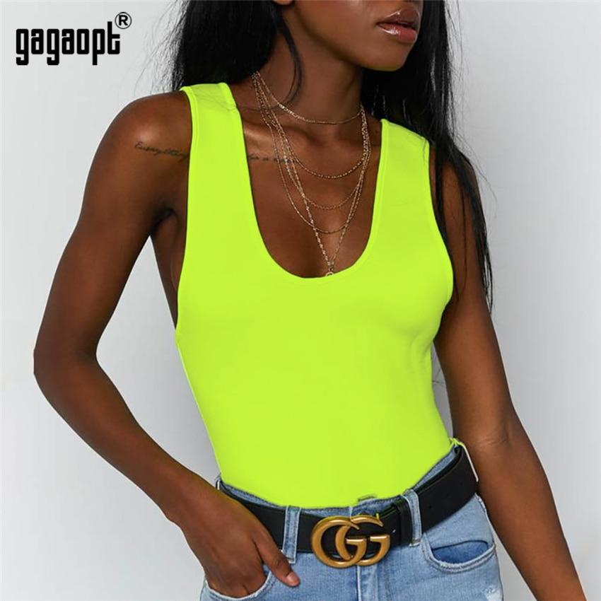 Gagaopt New 4 Colors Sleeveless Bodysuit Women Solid Sexy Bodysuit Bodycon Backless Bodysuit Jumpsuit Overalls Streetwear