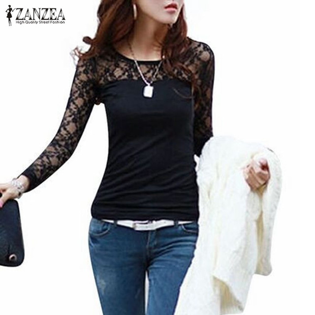 e429270567 US $7.57 15% OFF|Blusas Femininas 2018 Spring Summer ZANZEA Women Sexy  Shirt Tops Lace Patchwork Long Sleeve Casual Blouse Black White Plus  Size-in ...
