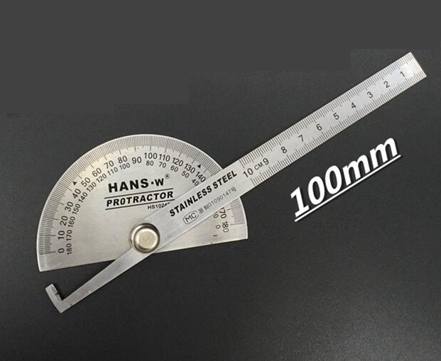 100mm Protractor Angle Finder HAND`W Stainiess Steel Protractor HS1024B Etching Scalce