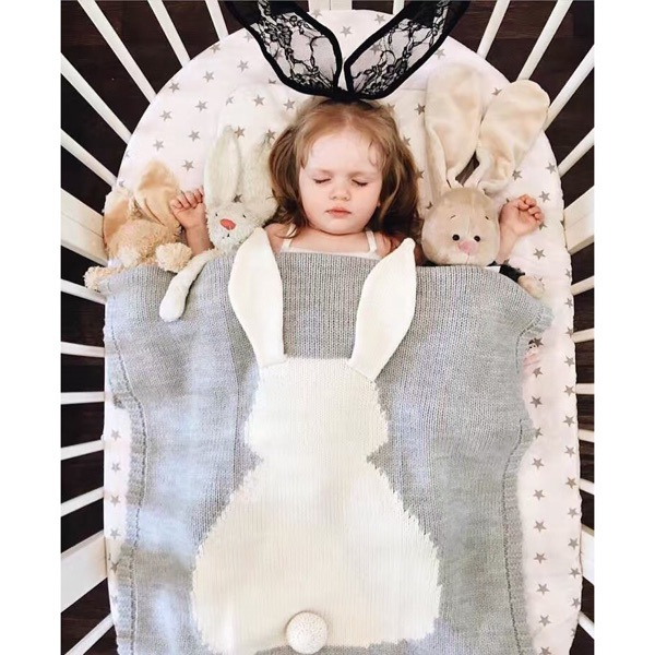 Baby Crochet Stroller Blankets Cute Rabbit Baby Cotton Swaddle Bedding INS Hot Sale Kids Soft Knitting Carseat Cover