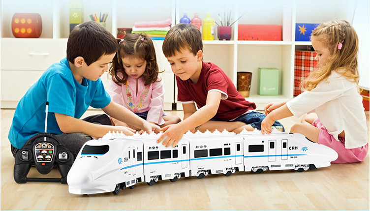 Huge Size Music  RC Train Toy  Electric Remote Control Rail 4W RC Car Model Train For Kids Gift  Railway Track Train Toyss