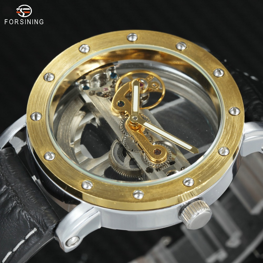 где купить FORSINING Auto Mechanical Men Watch Luxury Golden Bridge Genuine Leather Strap Bezel Minimalism Skeleton Wristwatch Best Gift по лучшей цене