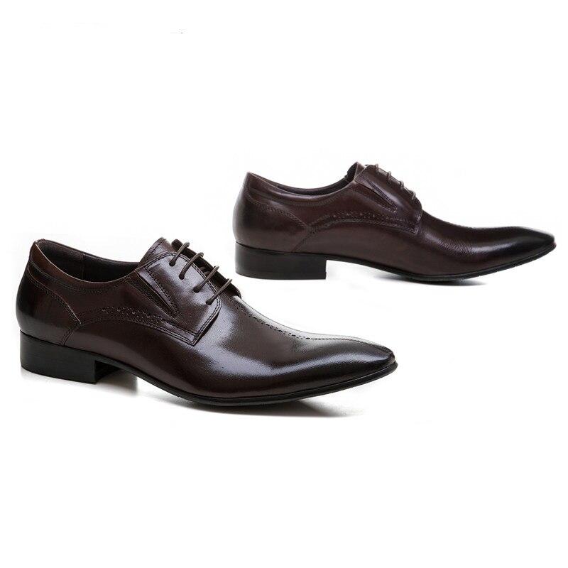 Zapatos Hombre Dedo Clorisruo Del negro Vestir Formales Cuero Puntiagudo Negro Cielo Genuino De Pie Marrón Negocios Para Moda azul 0qIxr0P