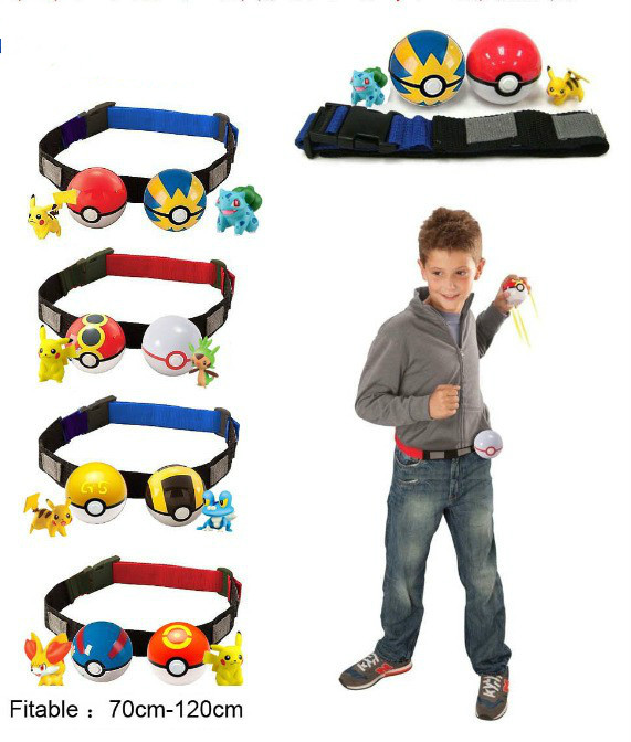 Give 5 Cards Play Game Pokemon Clip n Carry Kids Poke Ball Belt Pretend+2pcs <font><b>Pokeball</b></font>+<font><b>2</b></font> pcs Anime <font><b>Random</b></font> Master For Collection