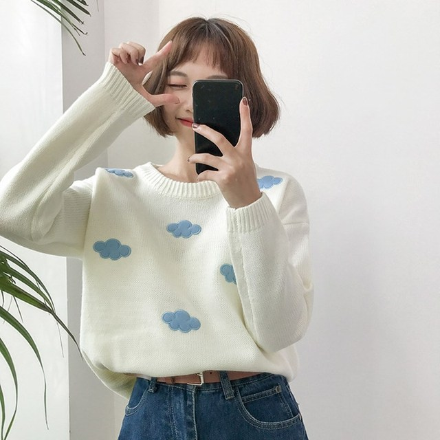 Embroidered Flowers Long Sleeve Fashion Cute Knitted Sweater Thin 2019 Spring Women Pullover Sweaters