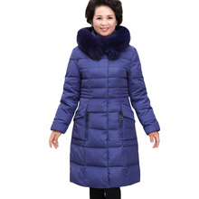 Winter Jacket Women 2016 Down Coats Thickening Large Fur Plus Size 5XL White Duck Down Jacket Slim Long Parka for Mother 166