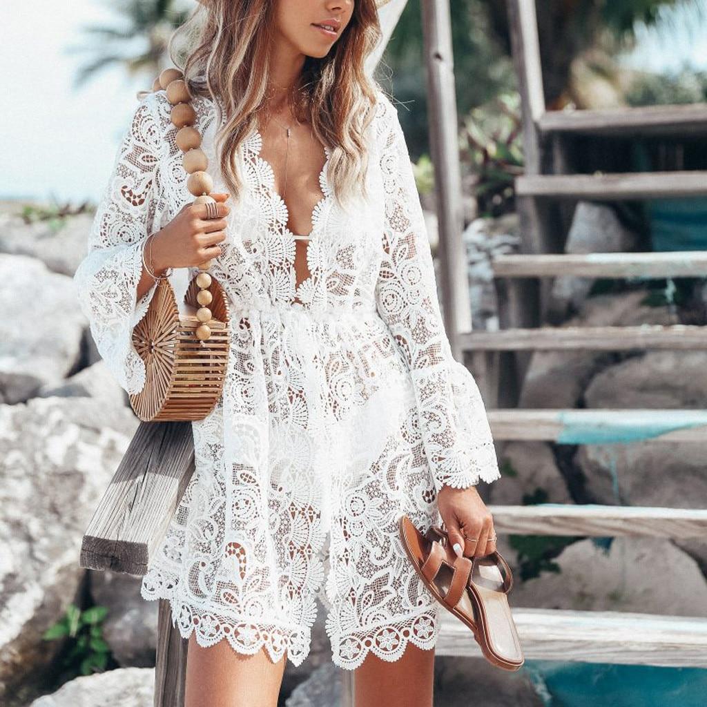 New Summer Swimsuit Lace Hollow Crochet Beach Bikini Cover Up  Women Tops Swimwear Beach Dress White Beach Tunic Shirt