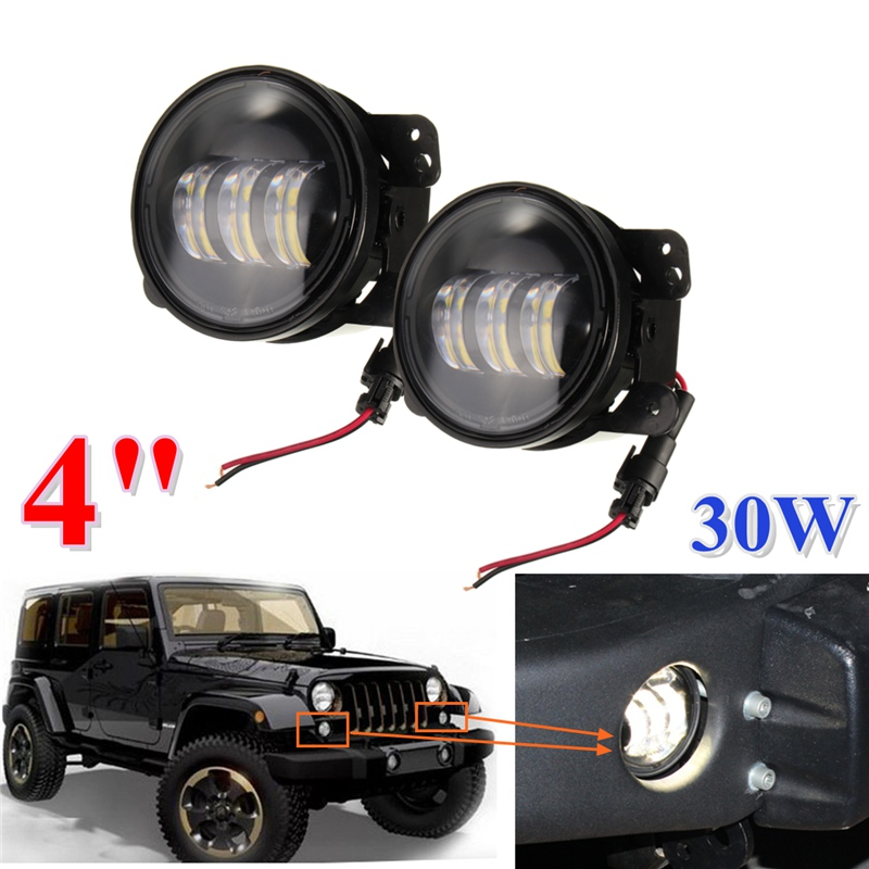 ФОТО 2PCS/Pair 4 Inch 30W LED Fog Light For Jeep/Wrangler/JK 07-14/Dodge/Magnum LED Chip Lamp Auto DRL Lighting Led Headlamp